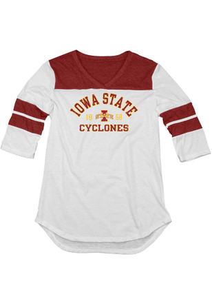 Iowa State Cyclones Womens 3/4 Sleeve Yoke White T-Shirt