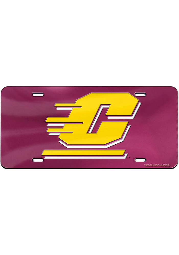Central Michigan Chippewas Team Logo Inlaid Car Accessory License Plate - Image 1