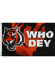 Cincinnati Bengals Who Dey Black Silk Screen Grommet Flag
