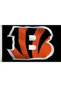 Cincinnati Bengals Team Logo Black Silk Screen Grommet Flag