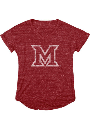 Miami Redhawks Womens Red Confetti V-Neck
