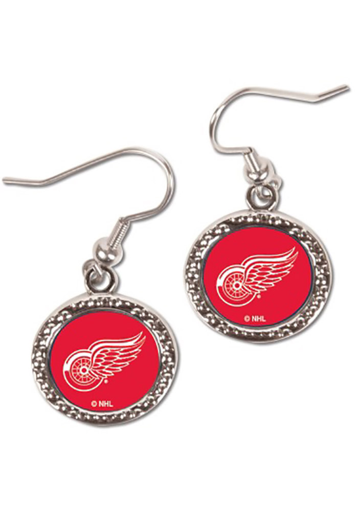 Detroit Red Wings Womens Hammered Dangle Earrings - Silver