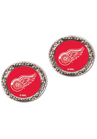 Detroit Red Wings Womens Hammered Post Earrings - Red