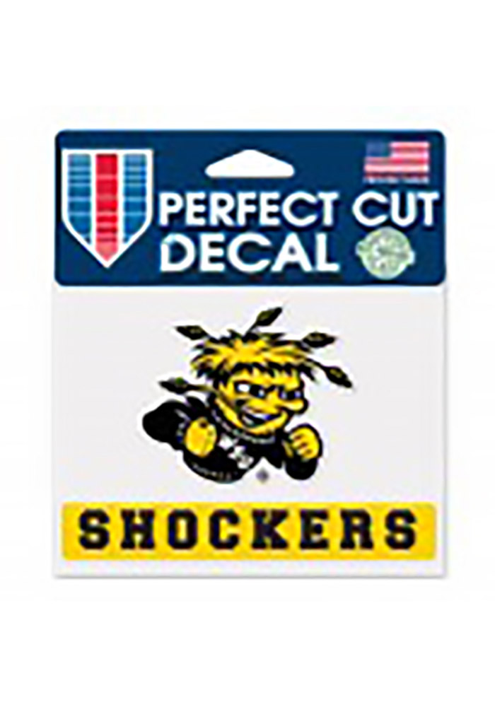 Wichita State Shockers Team Name Perfect Cut Auto Decal - Yellow