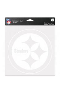 Pittsburgh Steelers 8x8 White Auto Decal - White