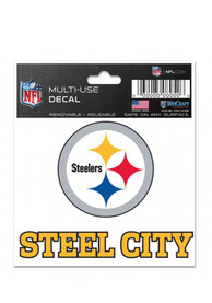 Pittsburgh Steelers 3x4 Steel City Auto Decal - Black