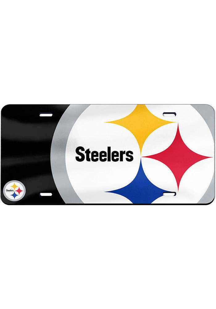Pittsburgh Steelers Mega Logo Glossy Car Accessory License Plate - Image 1