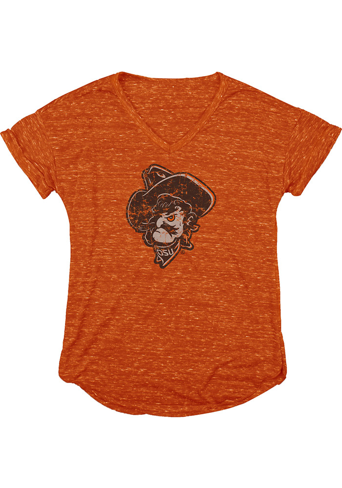 Oklahoma State Cowboys Womens Orange Confetti V-Neck T-Shirt - Image 1
