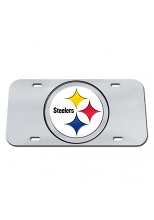 Pittsburgh Steelers Team Logo Silver Car Accessory License Plate