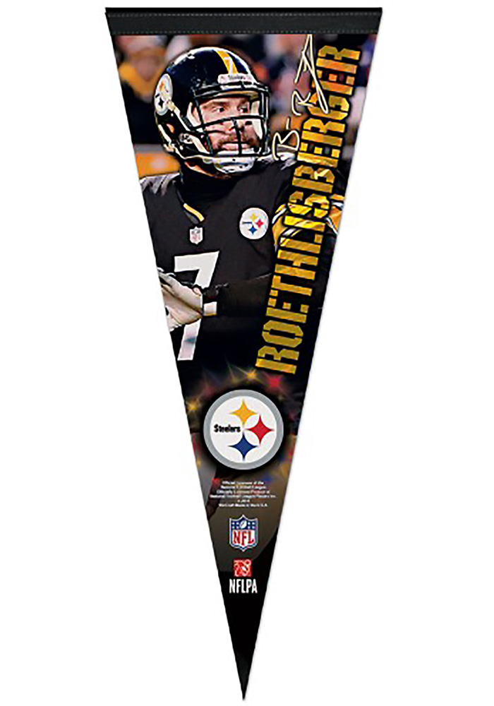 Pittsburgh Steelers Ben Roethlisberger 12x30 Vertical Player Premium Pennant - Image 1