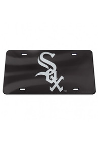 Chicago White Sox Black Crystal Mirror Car Accessory License Plate