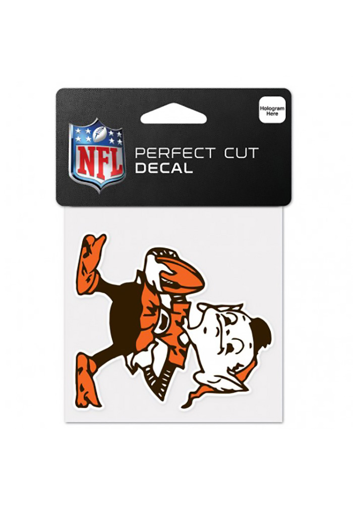 Cleveland Browns 4x4 Full Color Auto Decal - Orange - Image 1