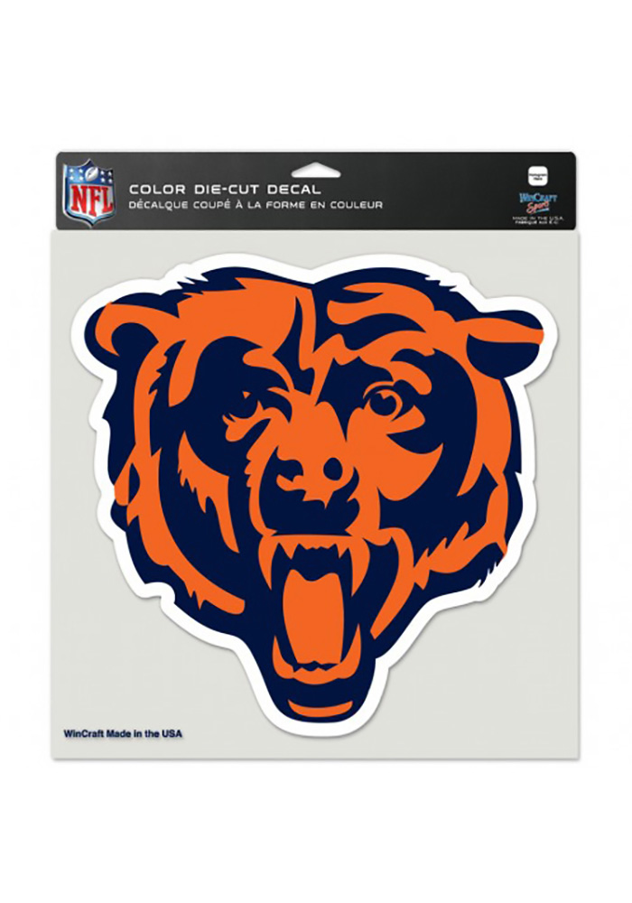Chicago Bears 8x8 Full Color Logo Auto Decal - Orange - Image 1