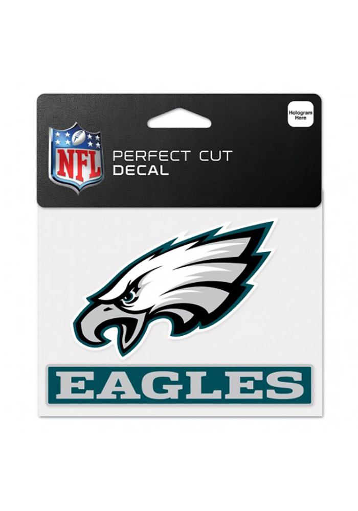 Philadelphia Eagles 4x5 Logo With Wordmark Auto Decal - Midnight Green - Image 1