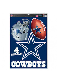 Dallas Cowboys 11x17 4 Pack Auto Decal - Navy Blue
