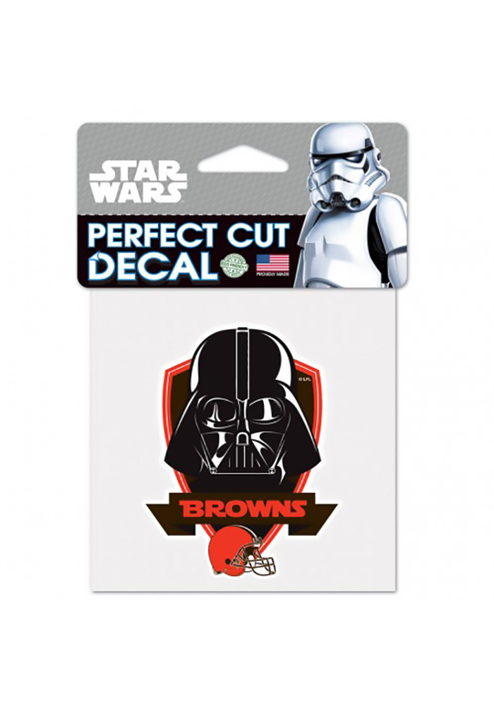 Cleveland Browns 4x4 Star Wars Darth Vader Auto Decal - Orange - Image 1