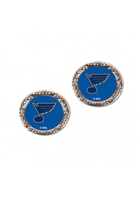 St Louis Blues Womens Hammered Post Earrings - Blue