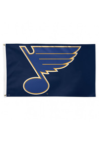 St Louis Blues Deluxe 3x5 Navy Blue Silk Screen Grommet Flag