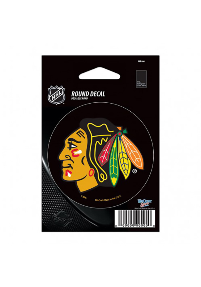 Chicago Blackhawks Round Logo Auto Decal - Black