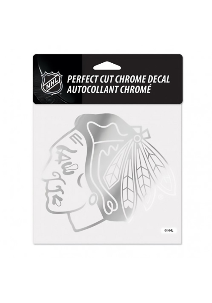 Chicago Blackhawks Round Logo Auto Decal - Silver - Image 1