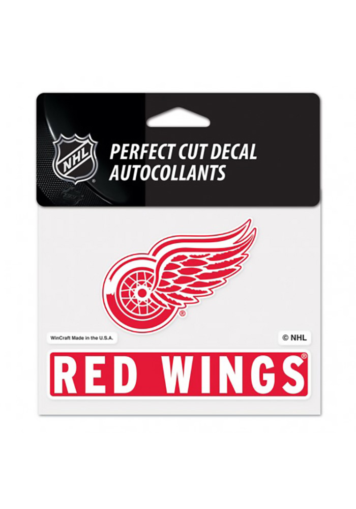 Detroit Red Wings Team Name and Logo Auto Decal - Red - Image 1