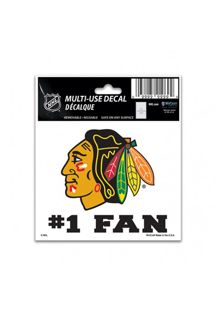 Chicago Blackhawks Number 1 Auto Decal - Black - Image 1