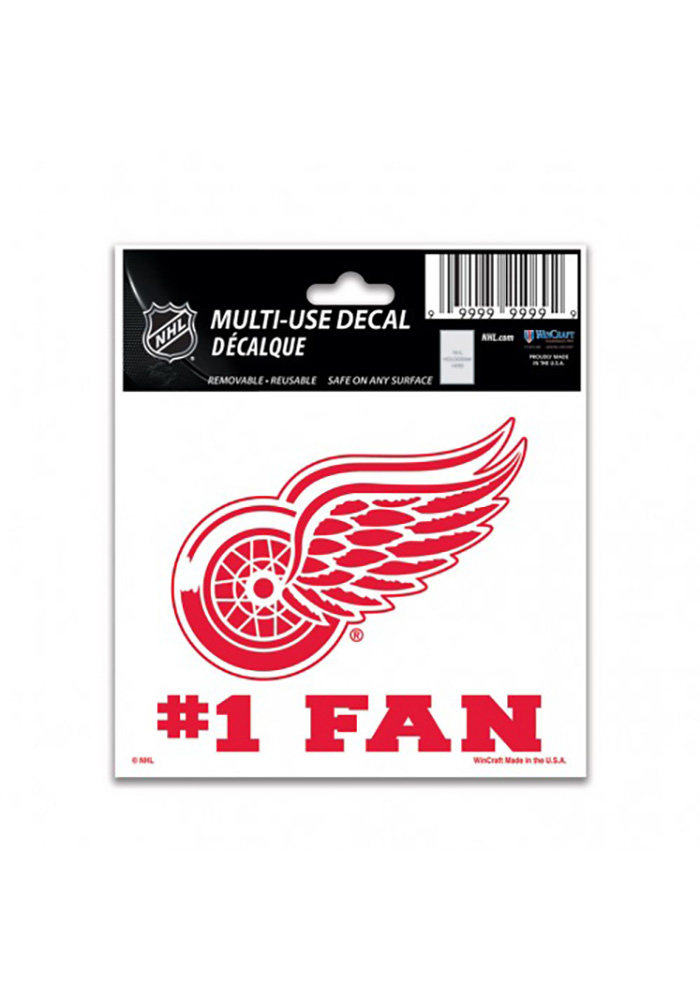 Detroit Red Wings Number 1 Auto Decal - Red
