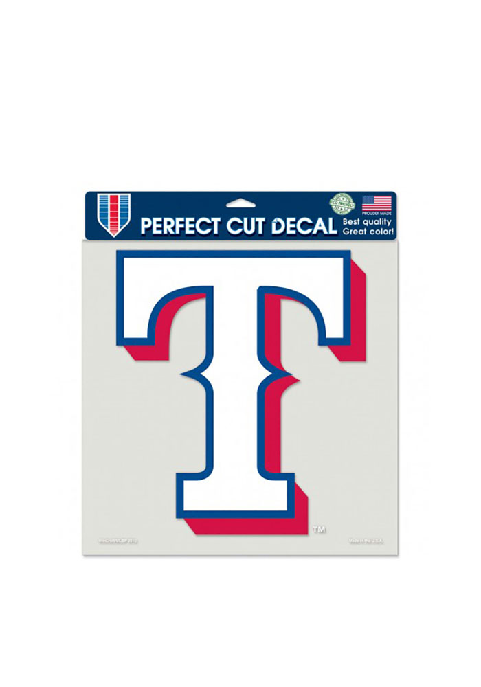 Texas Rangers 8x8 Perfect Cut Auto Decal - White - Image 1