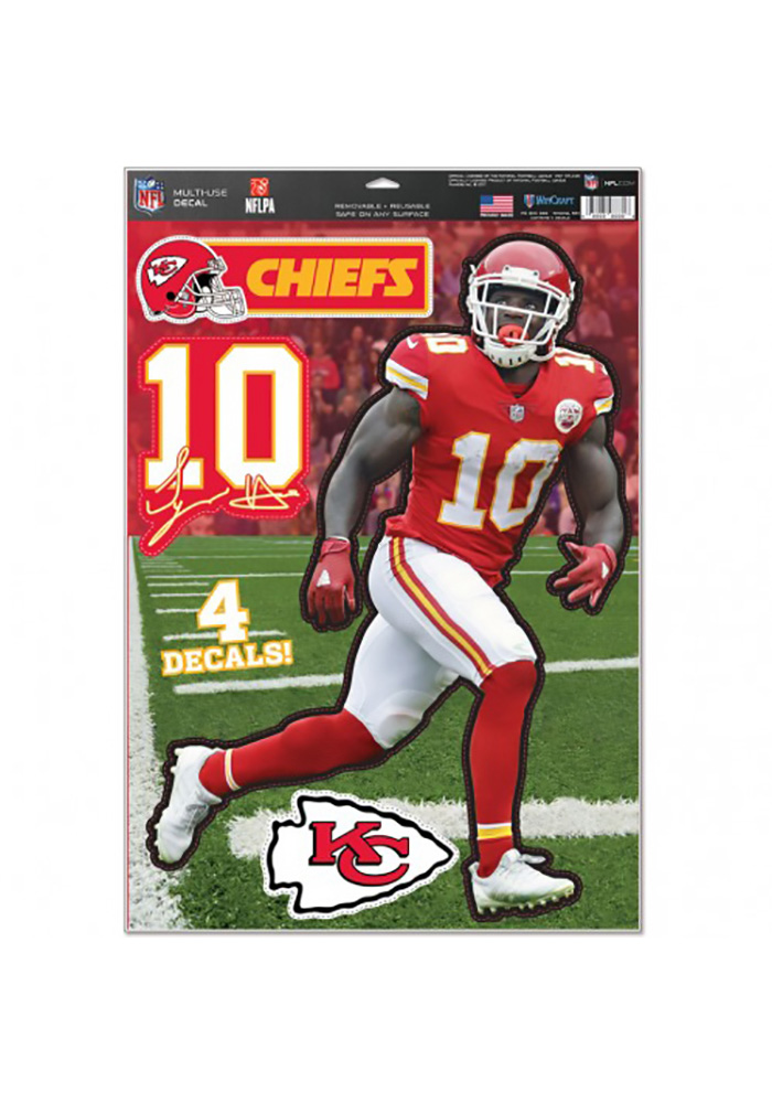 Tyreek Hill Wincraft Kansas City Chiefs Multi-Use Sheet Auto Decal - Red - Image 1
