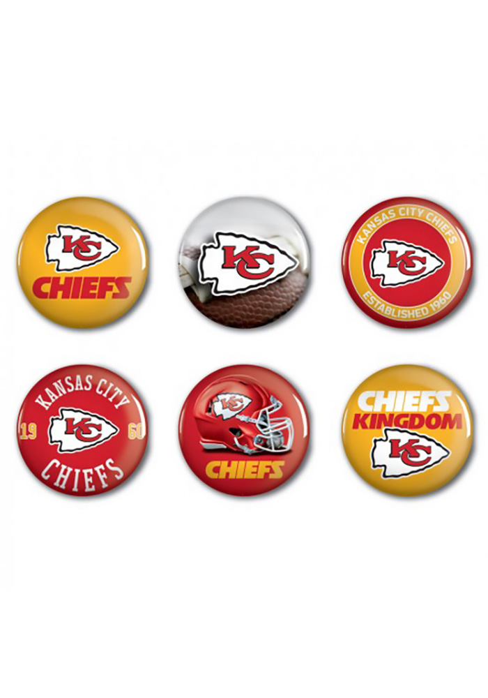 Kansas City Chiefs 6 pack of 2 Inch Button - Image 1
