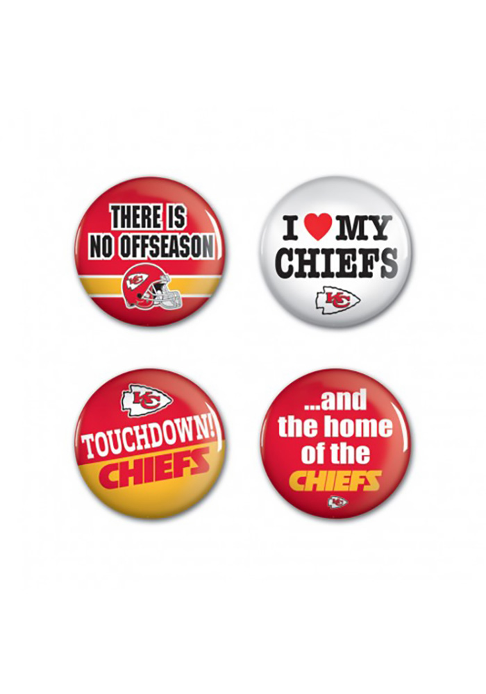 Kansas City Chiefs 4 Pack 1.25 Inch Button - Image 1