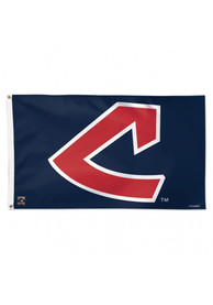 Cleveland Indians 3x5 ft Deluxe Blue Silk Screen Grommet Flag