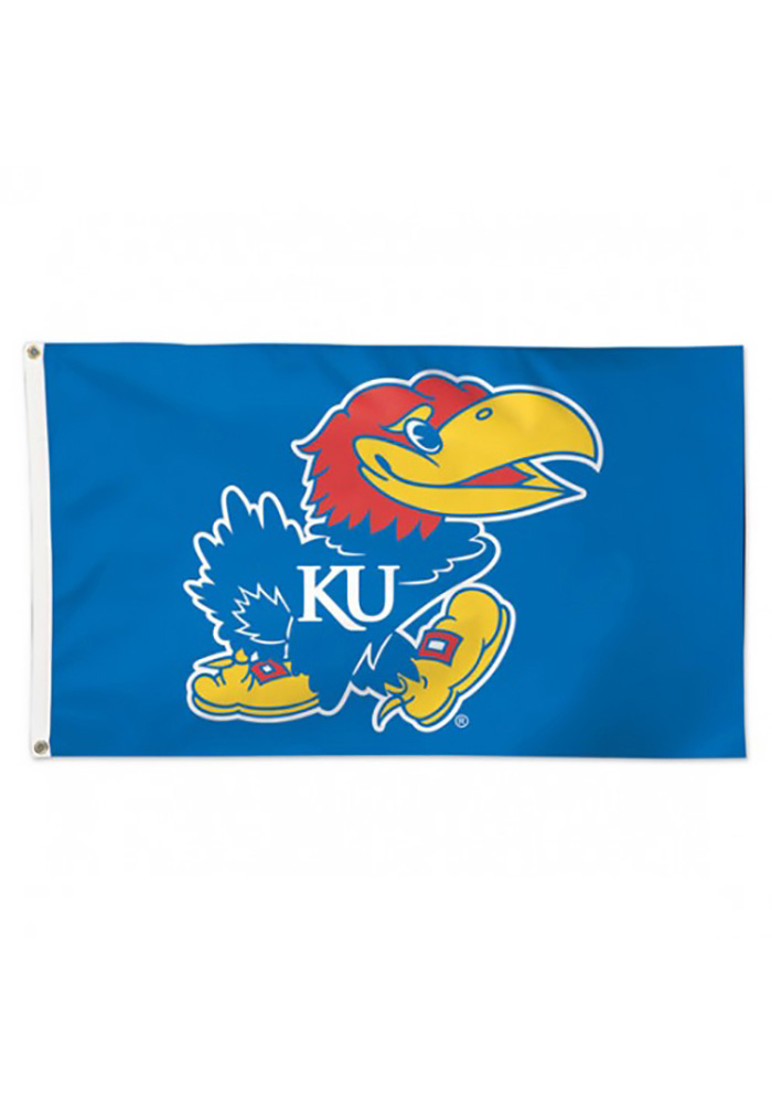 Kansas Jayhawks 3x5 Deluxe Blue Silk Screen Grommet Flag