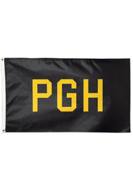 Pittsburgh PGH Black Silk Screen Grommet Flag