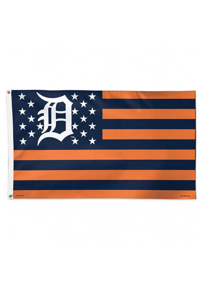 Detroit Tigers Stars and Stripes Navy Blue Silk Screen Grommet Flag - Image 1