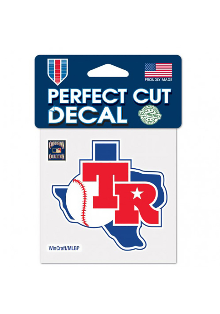 Texas Rangers 4X4 Cooperstown Auto Decal - Blue - Image 1