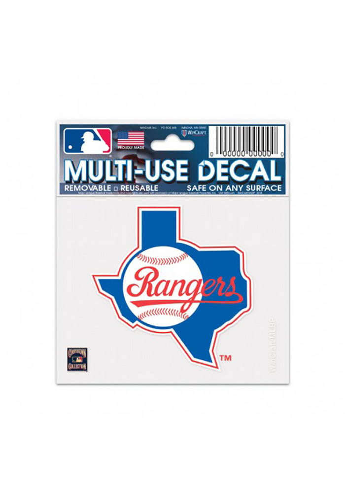 Texas Rangers 3x4 Multi-Use Cooperstown Auto Decal - Blue - Image 1