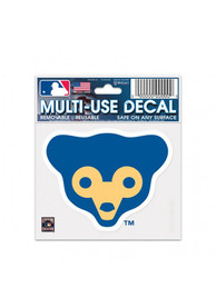 Chicago Cubs 3x4 Multi-Use Cooperstown Bear Auto Decal - Blue