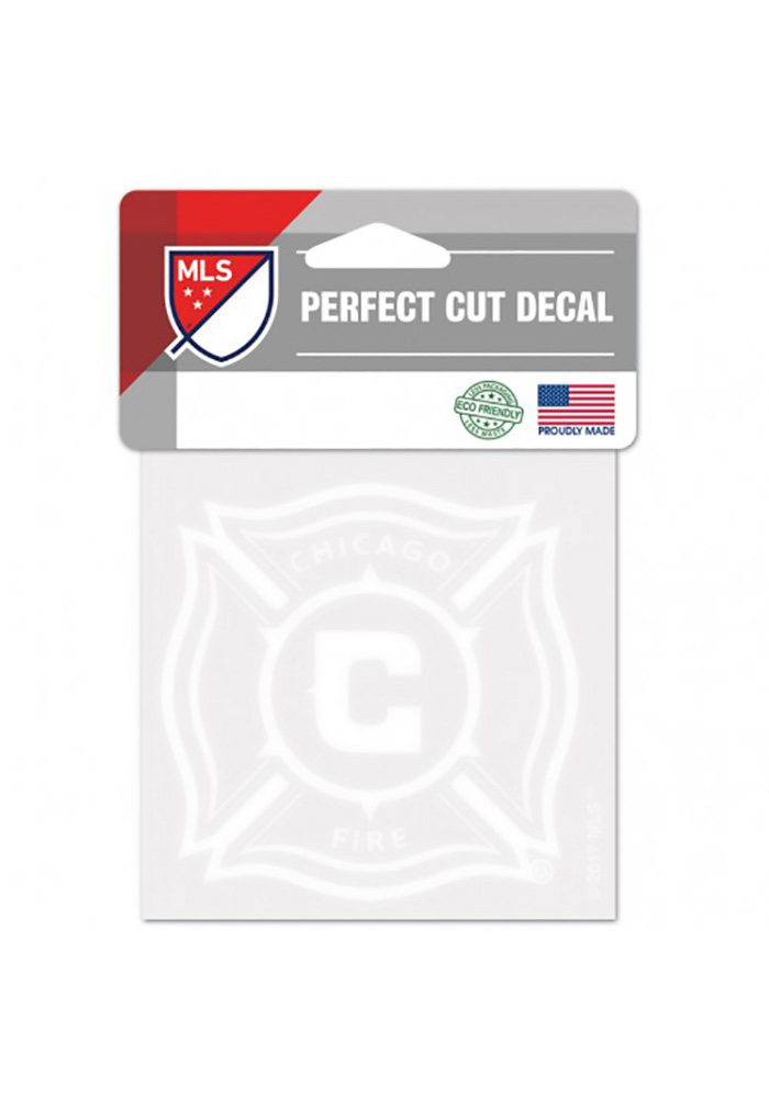 Chicago Fire Perfect Cut 4 X 4 Auto Decal - White - Image 1