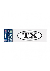 Texas 3x12 inch Oval Auto Decal - White
