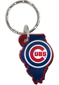 Chicago Cubs Metallic State Shape Keychain