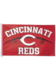 Cincinnati Reds 3x5 ft Deluxe Red Silk Screen Grommet Flag