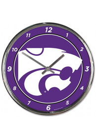 K-State Wildcats Chrome Striped Wall Clock