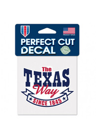 Texas 4x5 inch State Way Auto Decal - White