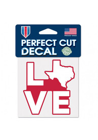 Texas 4x5 inch State Love Auto Decal - Red