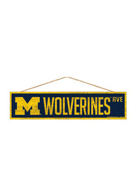 Michigan Wolverines 4x17 inch Wood Ave Sign