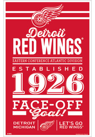 Detroit Red Wings Team Established 11X17 Wood Sign