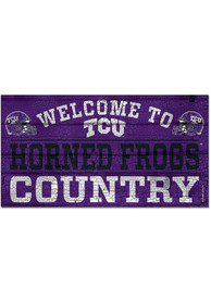 TCU Horned Frogs Welcome To 13X24 Wood Sign