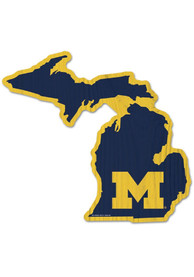 Michigan Wolverines State Shape Wood Sign