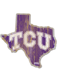TCU Horned Frogs State Shape Wood Sign
